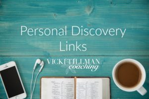 Personal Discovery Links VickiTillmanCoaching.com Photo of a journal, cup of coffee and earbuds to set the atmosphere for personal discovery.